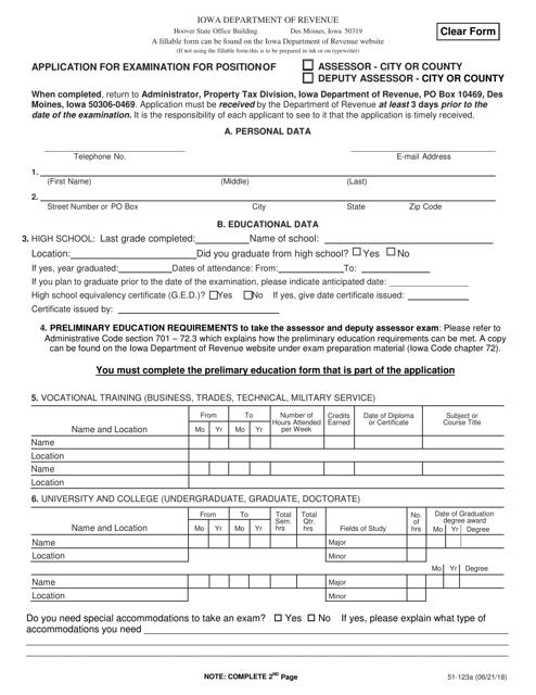 Form 51-123 Fillable Pdf