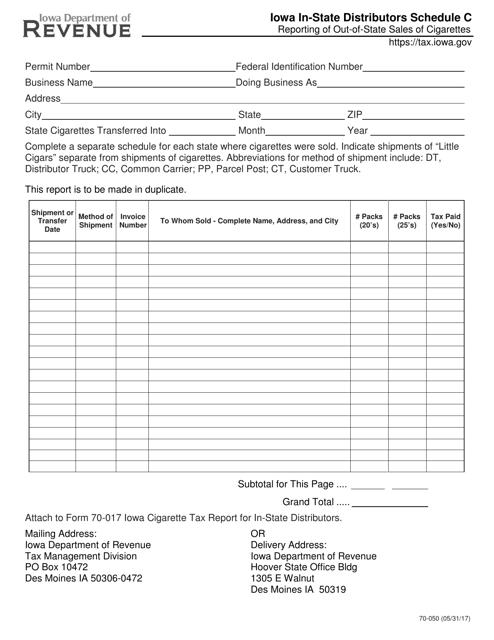 Form 70-050  Printable Pdf