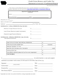 """""""Credit Union Moneys and Credits Tax Statement to Assessor / Confidential Report Form"""" - Iowa"""