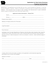 Form 54-009 Application for Data Center Business Property Tax Exemption - Iowa