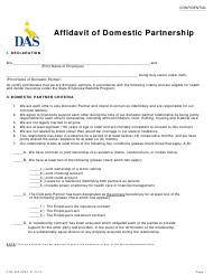 Form CFN 552-0693 Affidavit of Domestic Partnership - Iowa