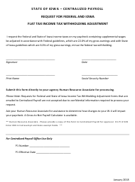 Request for Federal and Iowa Flat Tax Income Tax Withholding Adjustment - Iowa