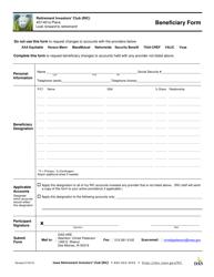 Beneficiary Form - Retirement Investors' Club (Ric) - Iowa