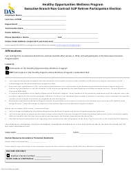 Form CFN 552-0769 Executive Branch Non Contract Slip Retiree Participation Election - Healthy Opportunities Wellness Program - Iowa
