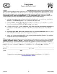 DNR Form 542-0801 Trees for Kids - Nursery Notification Letter - Iowa