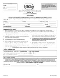 DNR Form 542-1354 Solid Waste Operator Certification Examination Application - Iowa