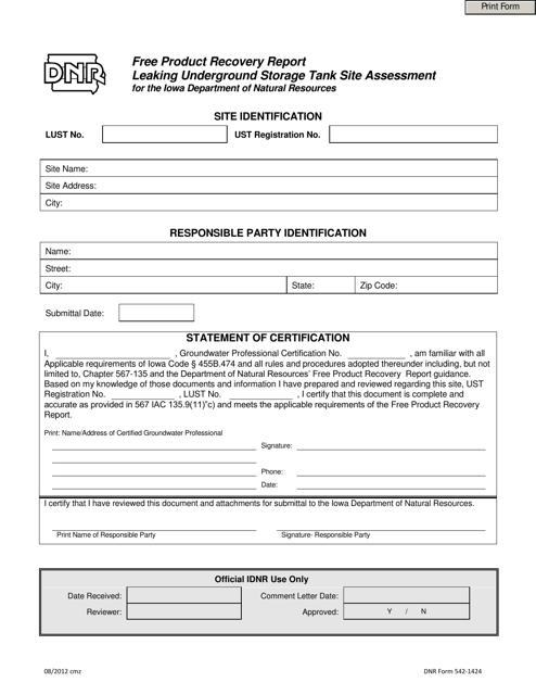 DNR Form 542-1424  Printable Pdf