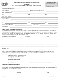 DNR Form 542-0091 Renewal for Groundwater Professional Certification - Iowa