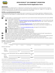 DNR Form 542-1427 Construction Permit Application Form - Open Feedlot or Combined Operation - Iowa