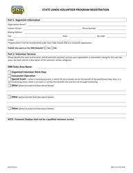 DNR Form 542-0645 State Lands Volunteer Program Registration - Iowa