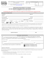 DNR Form 542-0422 Application for Eligibility to Acquire an Iowa Resident Nonambulatory Deer Hunting License - Iowa