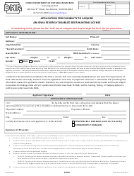 DNR Form 542-0417 Application for Eligibility to Acquire an Iowa Severely Disabled Deer Hunting License - Iowa