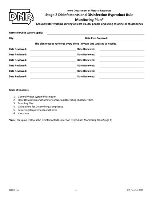 DNR Form 542-0459  Printable Pdf