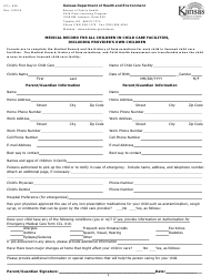 "Form CCL.029 ""Medical Record for All Children in Child Care Facilities, Including Provider's Own Children"" - Kansas"
