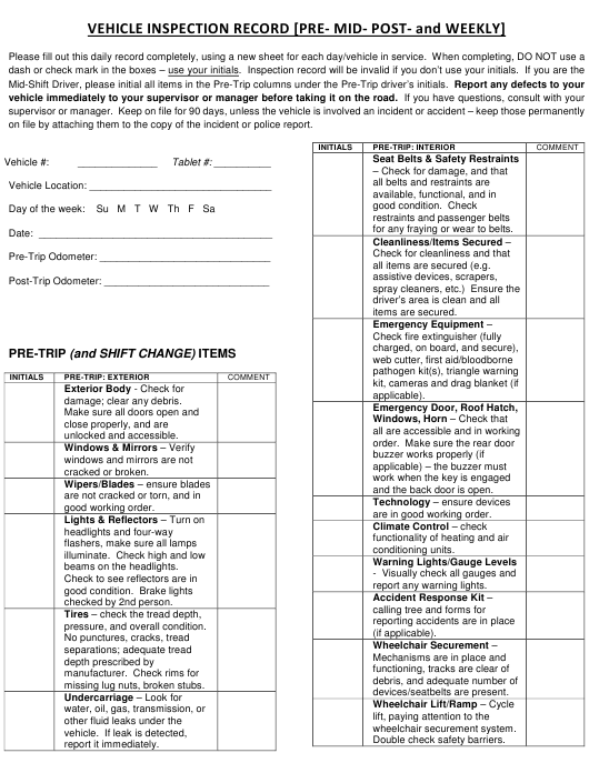 """""""Vehicle Inspection Record Form - Pre- Mid- Post- and Weekly"""" - Kansas Download Pdf"""