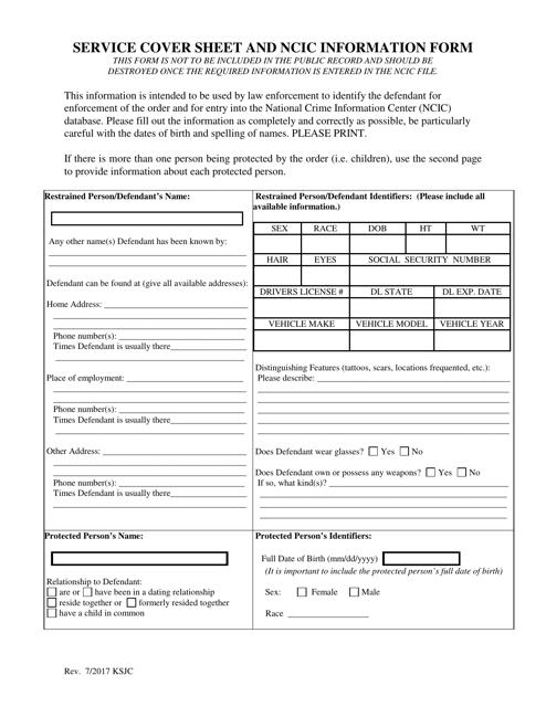 """Service Cover Sheet and Ncic Information Form"" - Kansas Download Pdf"