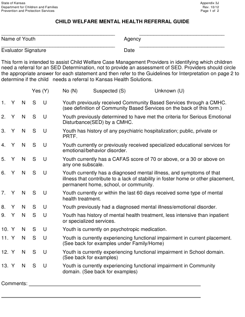 Appendix 3j Download Printable Pdf Or Fill Online Child Welfare Mental Health Referral Guide Kansas Templateroller
