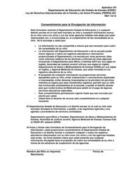 """Formulario KSDE/FERPA001 """"Apendice 5h - Consentimiento Para La Divulgacion De Informacion"""" - Kansas (Spanish)"""