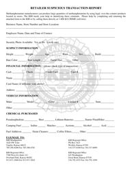 """Retailer Suspicious Transaction Report Form"" - Kansas"