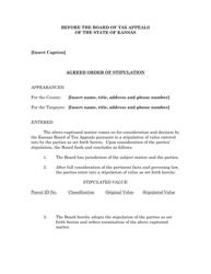 """""""Agreed Order of Stipulation"""" - Kansas"""