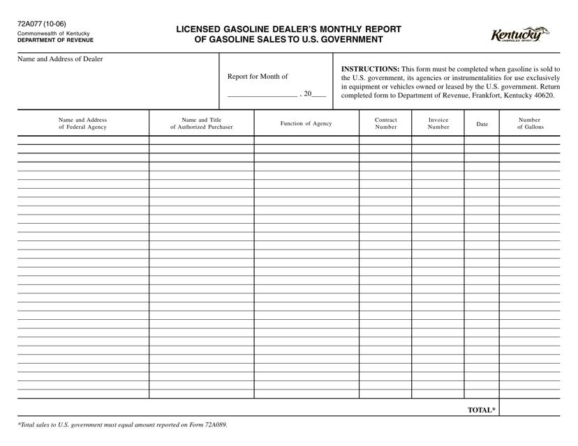 Form 72A077  Printable Pdf