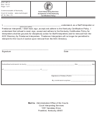 "Form AOC-INT-3 ""Court Interpreting Services Acceptance of the Kentucky Certification Policy"" - Kentucky"