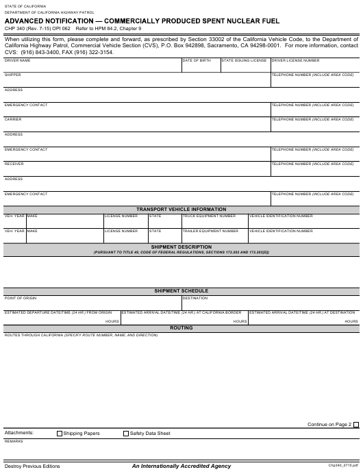 Form CHP 340 Fillable Pdf