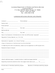 "Form LDR-1 ""Licensing Deficiency Review (Ldr) Request"" - Louisiana"