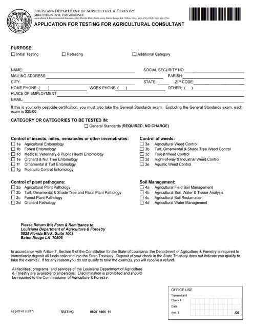 Form AES-07-47  Printable Pdf