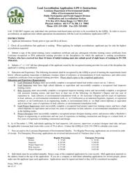 "Instructions for Form LPF-1, 7069 ""Lead Accreditation Application"" - Louisiana"