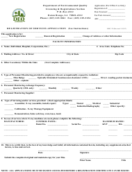 "Form DRC-22 ""Registration of Services Application"" - Louisiana"