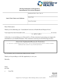 "Form 302P ""30-day Extension to Respond to Amendment Request - Sample"" - Louisiana"