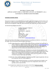 """Application for a Certificate of Authority as a Louisiana Domiciled Insurer Form"" - Louisiana"