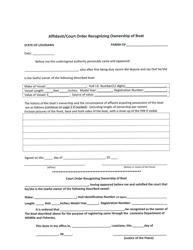 """""""Affidavit/Court Order Recognizing Ownership of Boat"""" - Louisiana"""