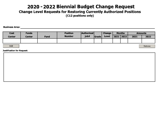 """Biennial Budget Change Request Form - Change Level Requests for Restoring Currently Authorized Positions"" - Arkansas Download Pdf"