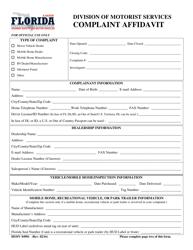 "Form HSMV84901 ""Complaint Affidavit"" - Florida"