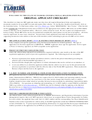 "Form HSMV85103 ""Original Applicant Checklist - International Registration Plan"" - Florida"