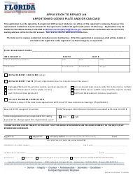 "Form HSMV85100 ""Application to Replace an Apportioned License Plate and/Or Cab Card"" - Florida"