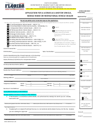 "Form HSMV86056 ""Application for a License as a Motor Vehicle, Mobile Home or Recreational Vehicle Dealer"" - Florida"