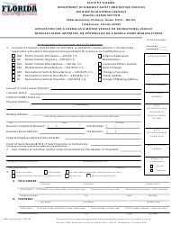 "Form HSMV84256 ""Application for a License as a Motor Vehicle or Recreational Vehicle Manufacturer, Importer, or Distributor or a Mobile Home Manufacturer"" - Florida"