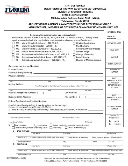 Form HSMV84256  Printable Pdf