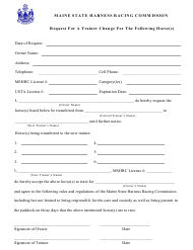 """Trainer Change Request Form"" - Maine"