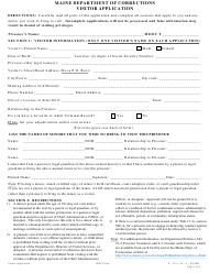 """""""Visitor Application Form"""" - Maine"""