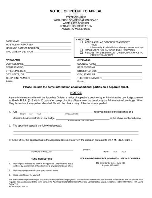 Form WCB-240  Printable Pdf