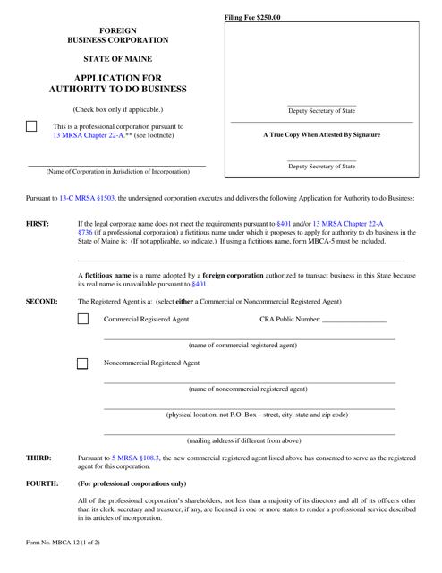 Form MBCA-12  Printable Pdf