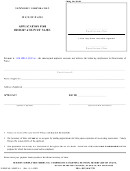 "Form MNPCA-1 ""Application for Reservation of Name - Nonprofit Corporation"" - Maine"
