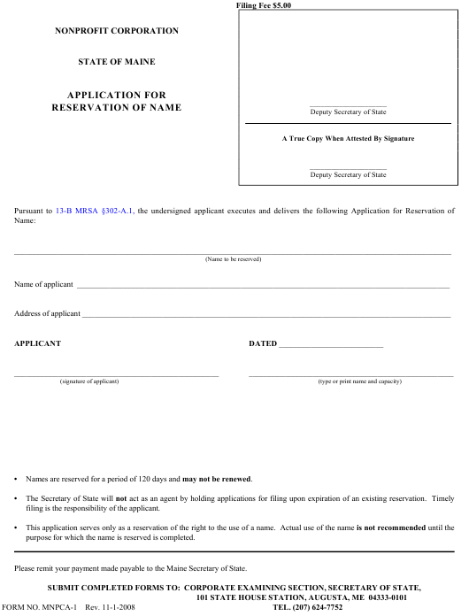 Form MNPCA-1  Printable Pdf