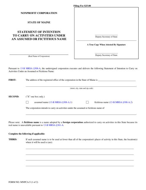 Form MNPCA-5  Printable Pdf