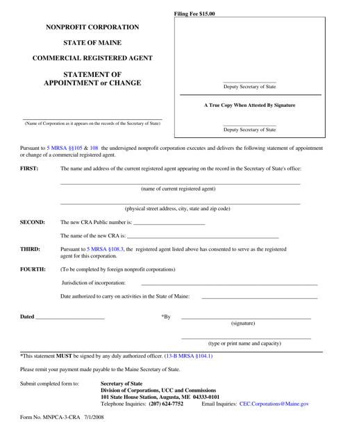 Form MNPCA-3-CRA  Printable Pdf