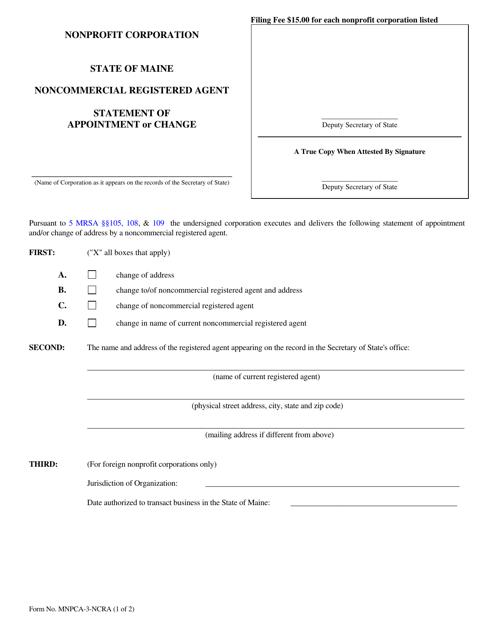 Form MNPCA-3-NCRA  Printable Pdf